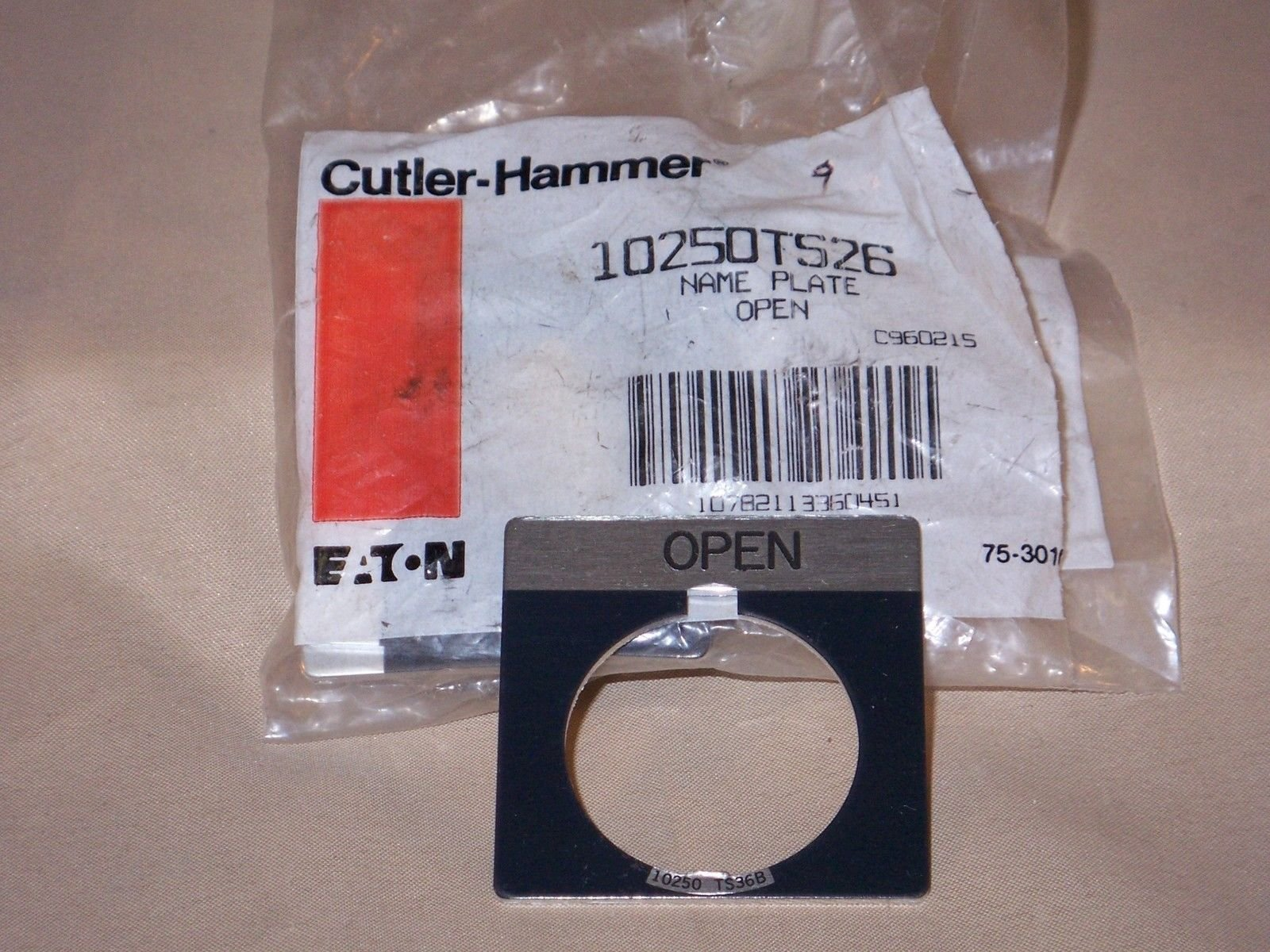 Cutler-Hammer 10250TS26 name plate--open