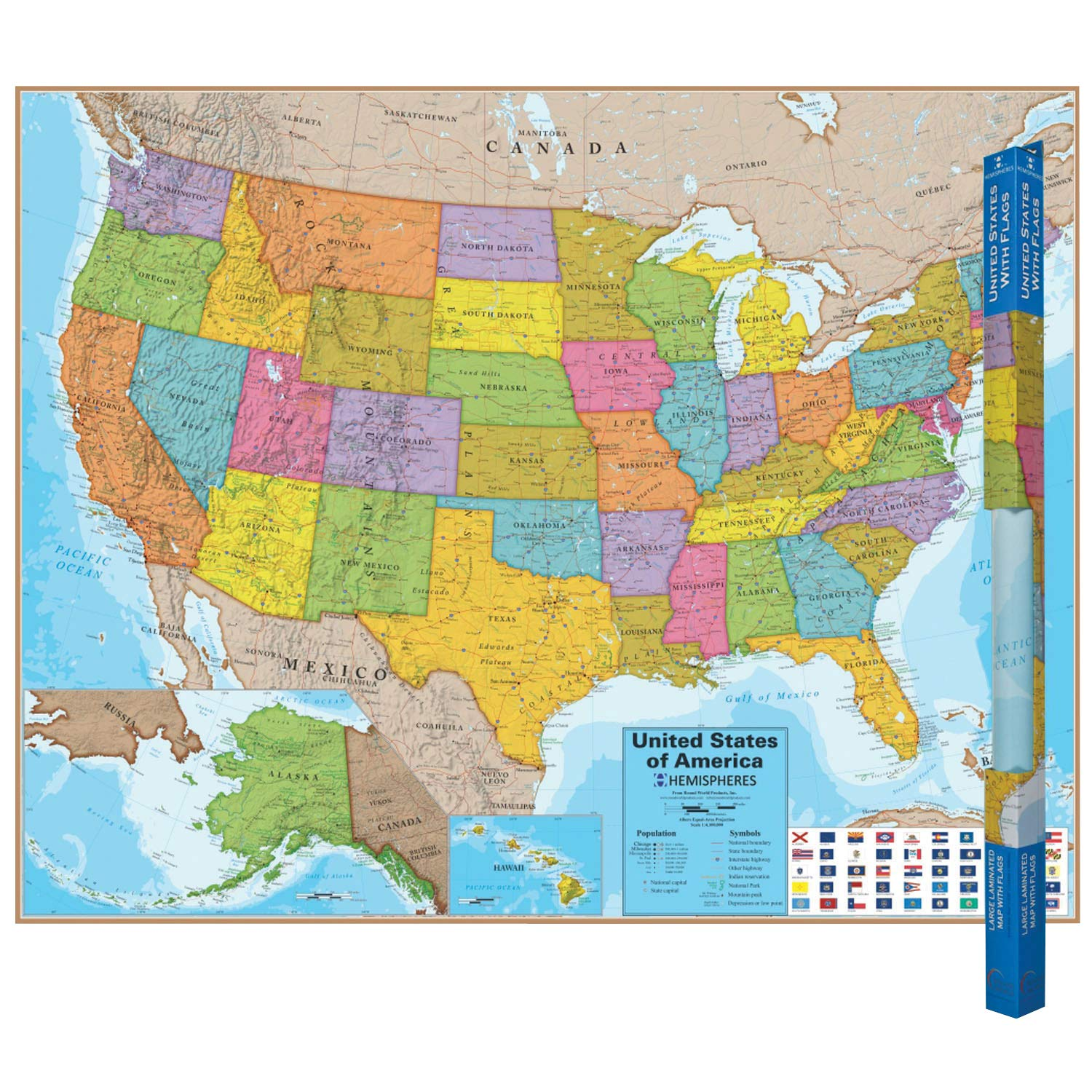 "Waypoint Geographic Hemispheres Wall Map of The USA with Blue Ocean - Poster Size Wall Art (38"" x 48"") - Includes US Highways and State Flags, Ships Rolled and Laminated"
