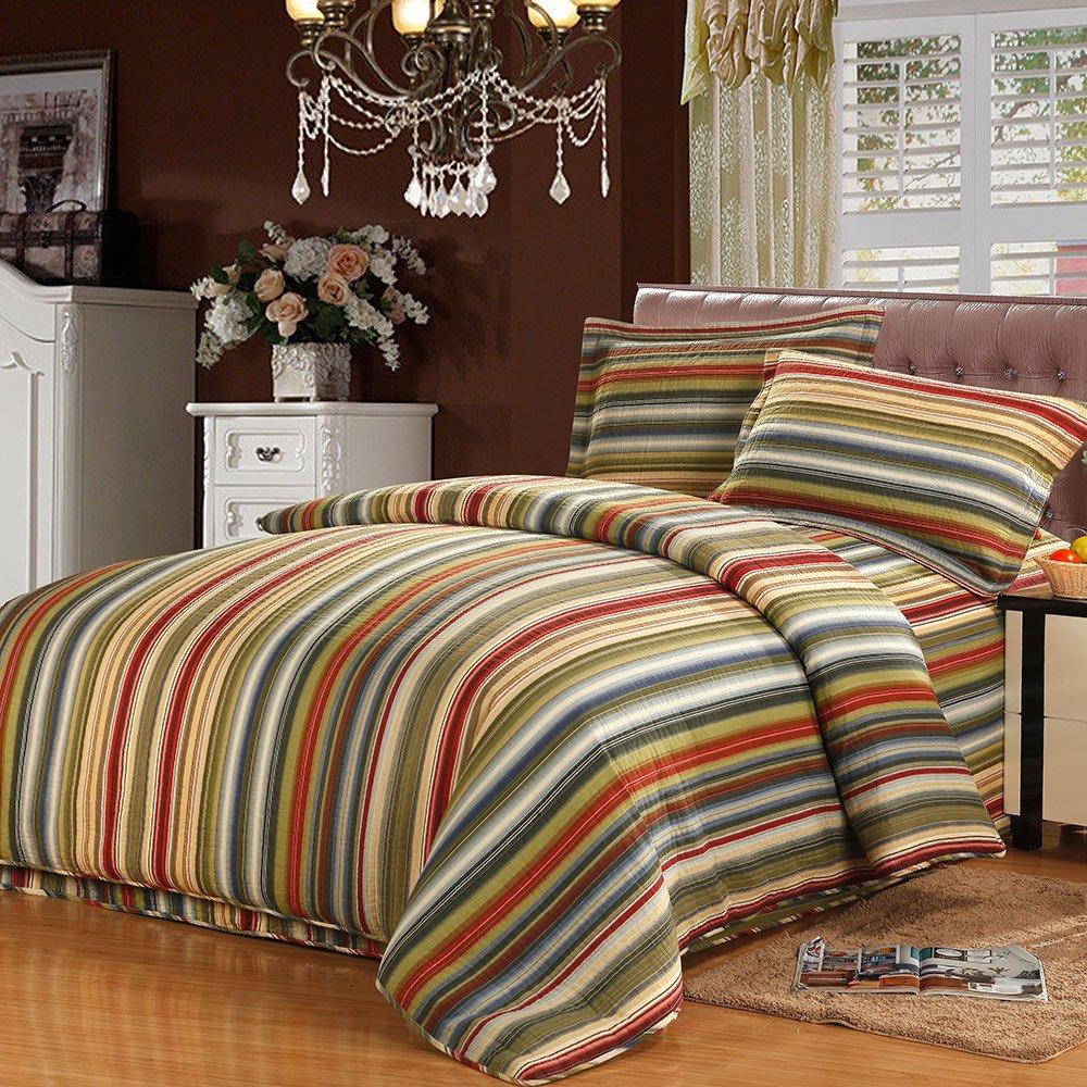 Mixinni® Tagesdecke Streifen Patchwork Decke 100% Baumwolle Druckdessiniert Quilt 2 Personen Bettdecke Idyllisch Bettüberwurf Bettwächse 220x240cm  240x260cm (220x240cm)