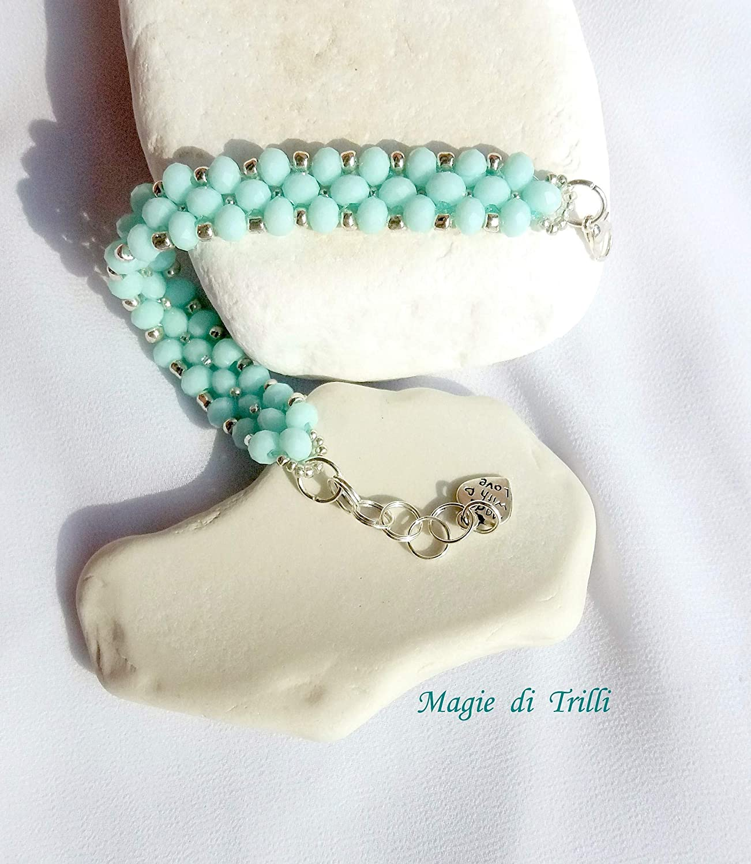 Bracciale artigianale donna con cristalli verde acqua e rocailles argento Idea regalo Magie di Trilli