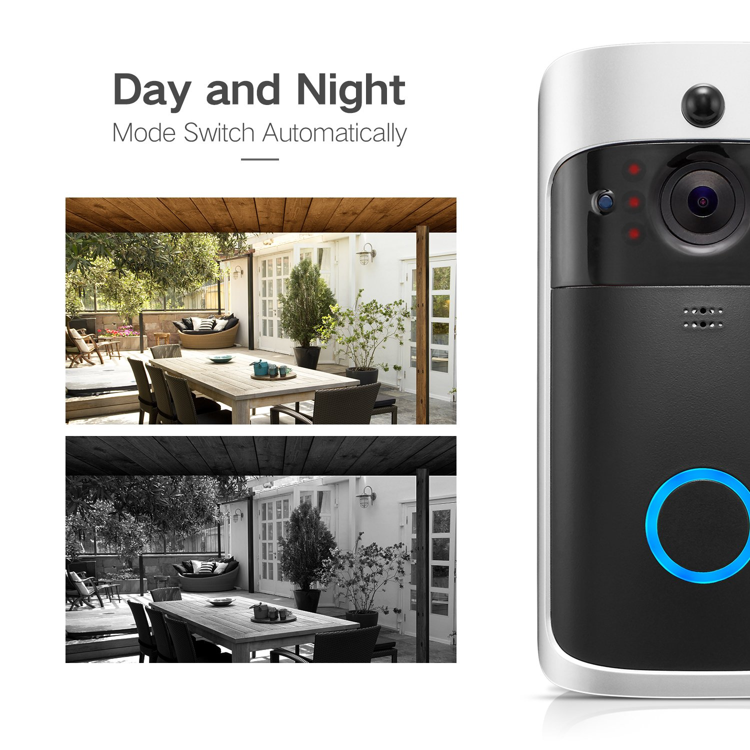 GJT Smart Video Doorbell Wireless Home WIFI Security Camera With Indoor Chime, 8G SD Card, Free Cloud Service, 2 Batteries, 2-Way Talk, Night Vision, PIR Motion Detection, APP Control for IOS Android by GJT (Image #4)