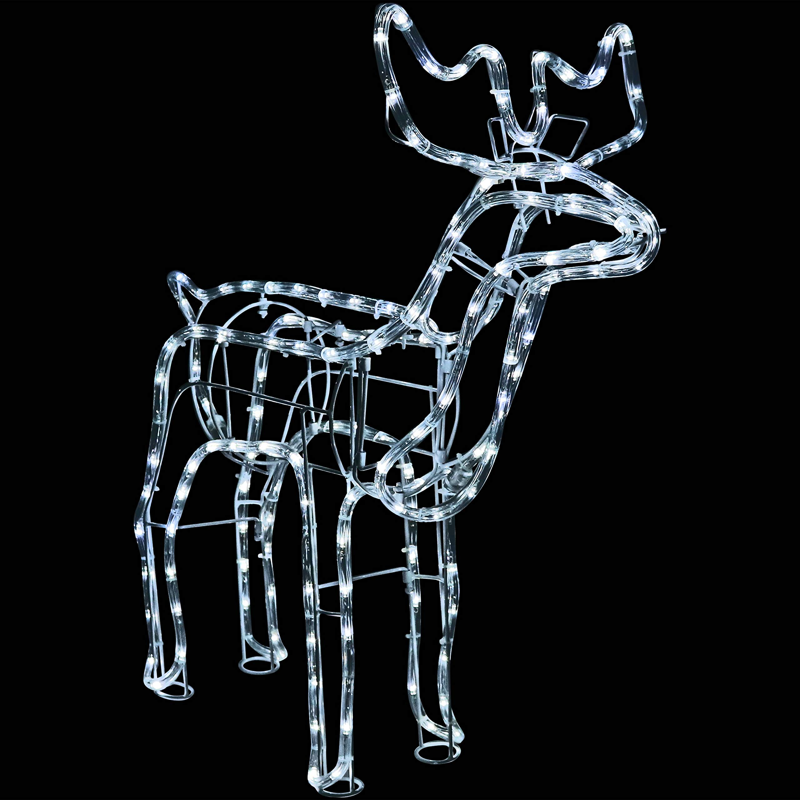 Sunnydaze Christmas Standing Deer White LED Light Display, Indoor & Outdoor Holiday Decoration Lights, 27-Inch Height