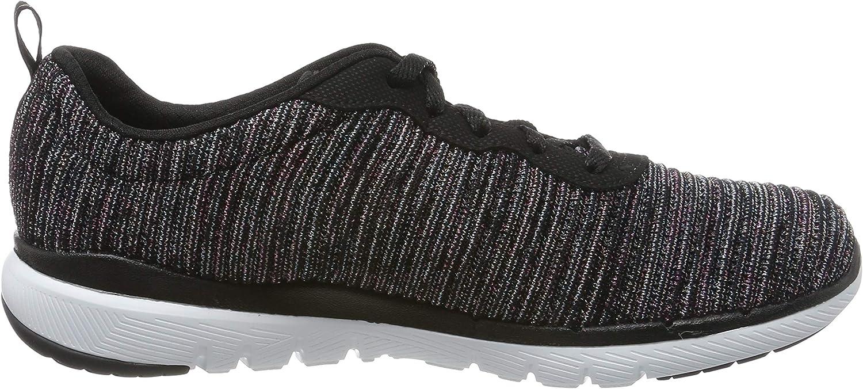 Skechers Flex Appeal 3.0, Baskets Femme Noir Black Mint Bkmt