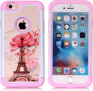 Iphone 6S Case,Iphone 6 Case - Paris Eiffel Tower Pattern Shock-Absorption Hard PC and Inner Silicone Hybrid Dual Layer Armor Defender Protective Case Cover for Apple iphone 6 iphone 6S