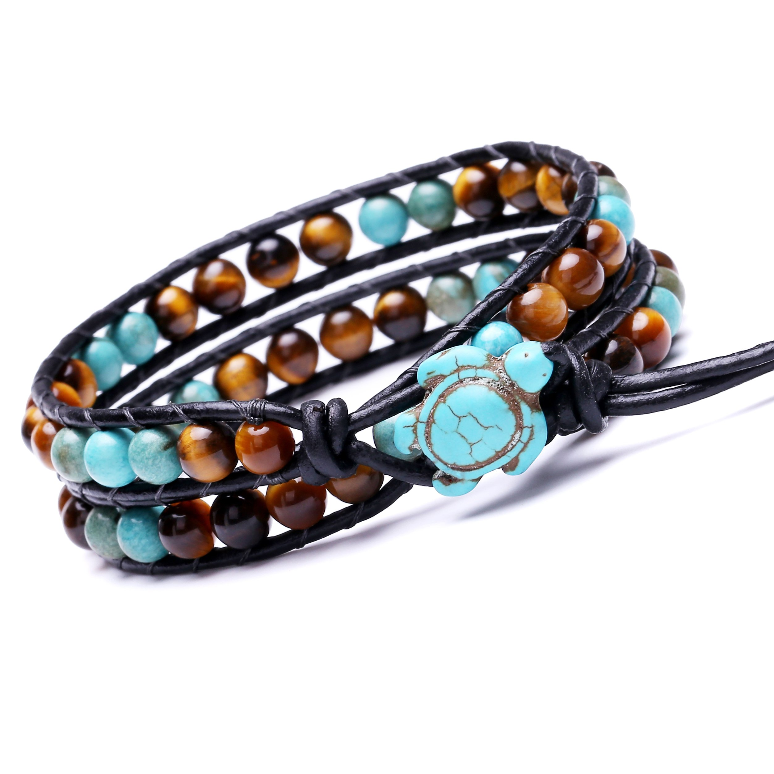 Leather Wrap Bracelet Turtle Turquoise and Tiger Eye Beads Handmade Boho Jewelry Mother's Day Gift by PearlyPearls