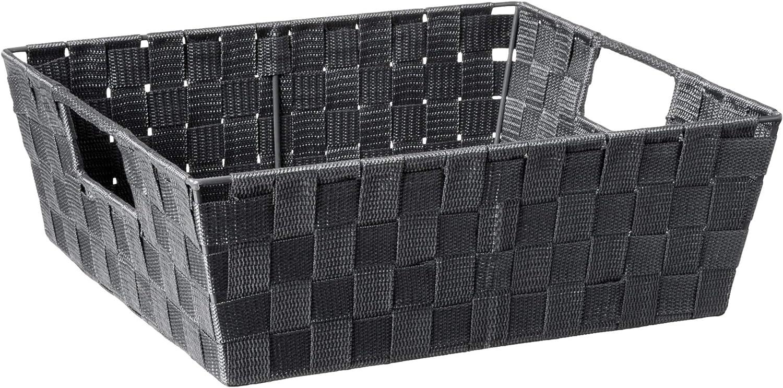 Home Basics Non-Woven Strap Handle Bin (Grey, Large)