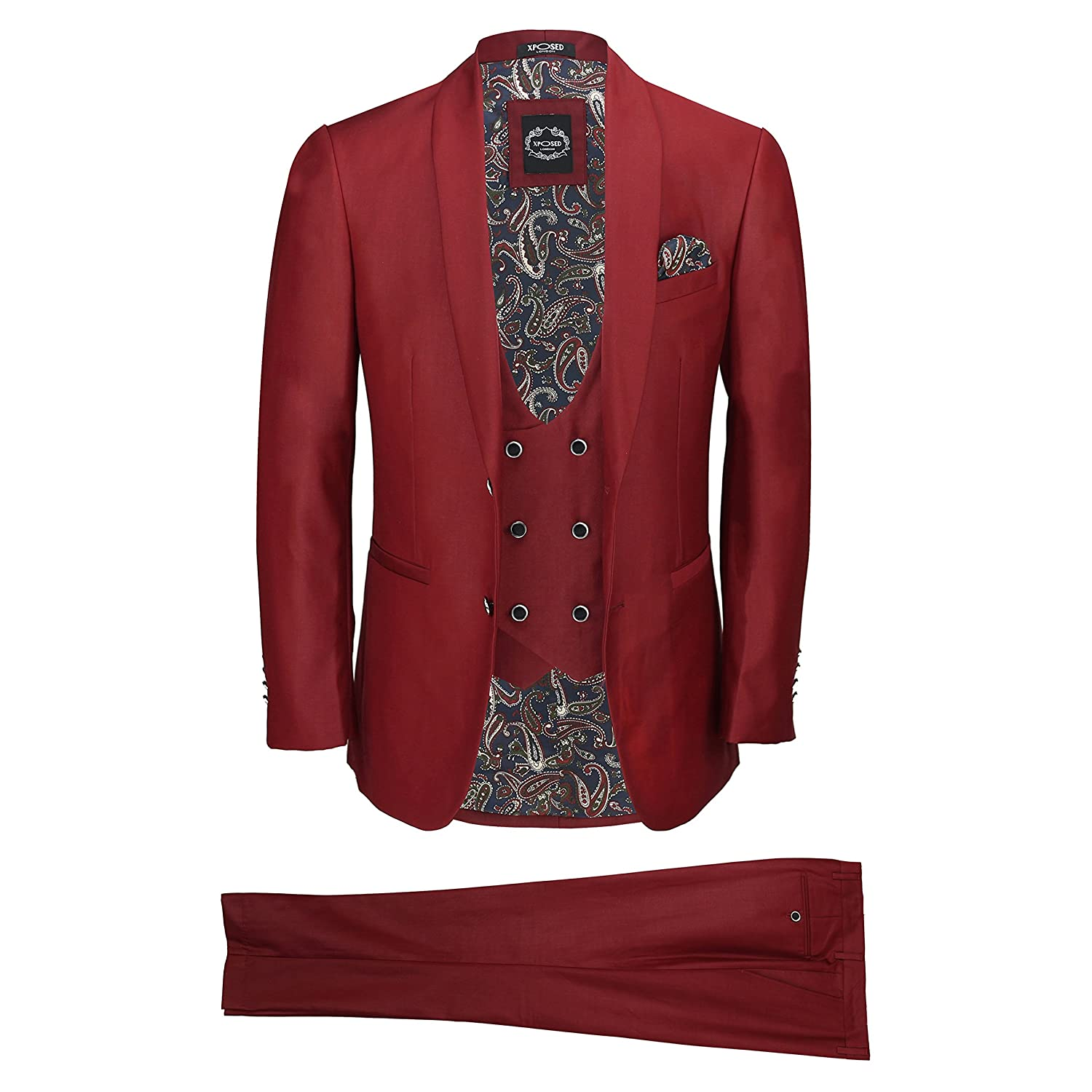 Xposed New Mens 3 Piece Maroon Wine Shawl Lapel Slim Fit Vintage Tux Suit Wedding Party Prom