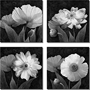 U&A Black Art Canvas Contemporary Simple Life Pictures White Flowers Floral Wall Bathroom Artwork Paintings for Home Decor(12