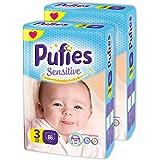 Pañales para bebés Pufies Sensitive - Paquete de pañales con 132 unidades de la talla 3