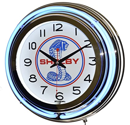 Amazon.com: Ford Shelby Cobra Blue Double Neon Advertising Clock ...