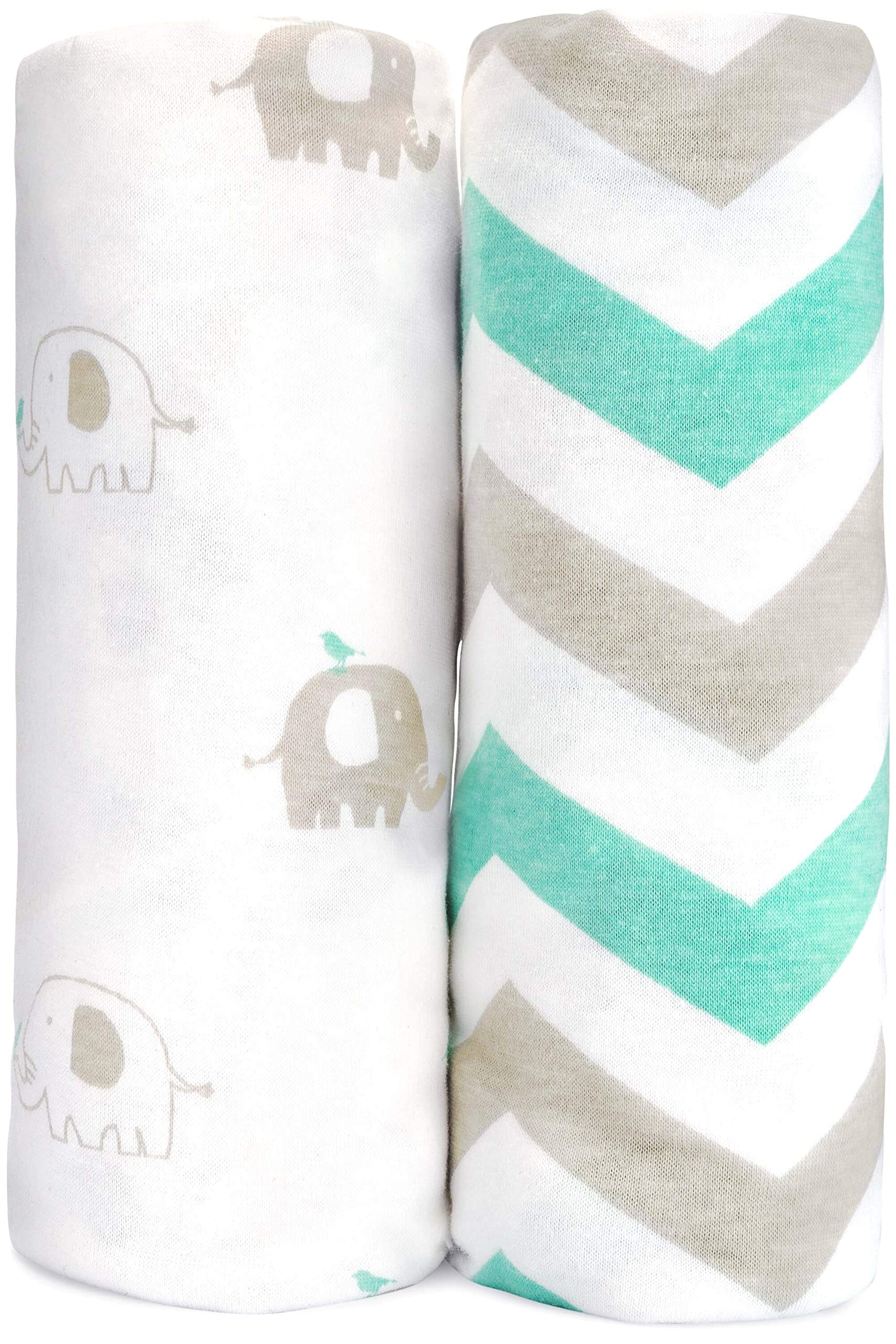 Cuddly Cubs Baby Crib Sheets Boy Girl 2 Pack | Fitted Crib Mattress Sheets | Toddler Bed Sheet | Jersey Cotton Elephant Crib Sheet | Grey White Mint by Cuddly Cubs