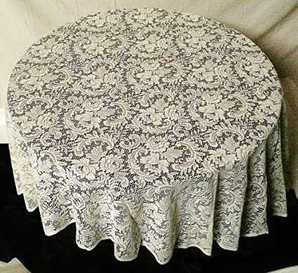 Beau Oxford House Stunning Rose Garden 90u0026quot; Round Ivory Lace Tablecloth