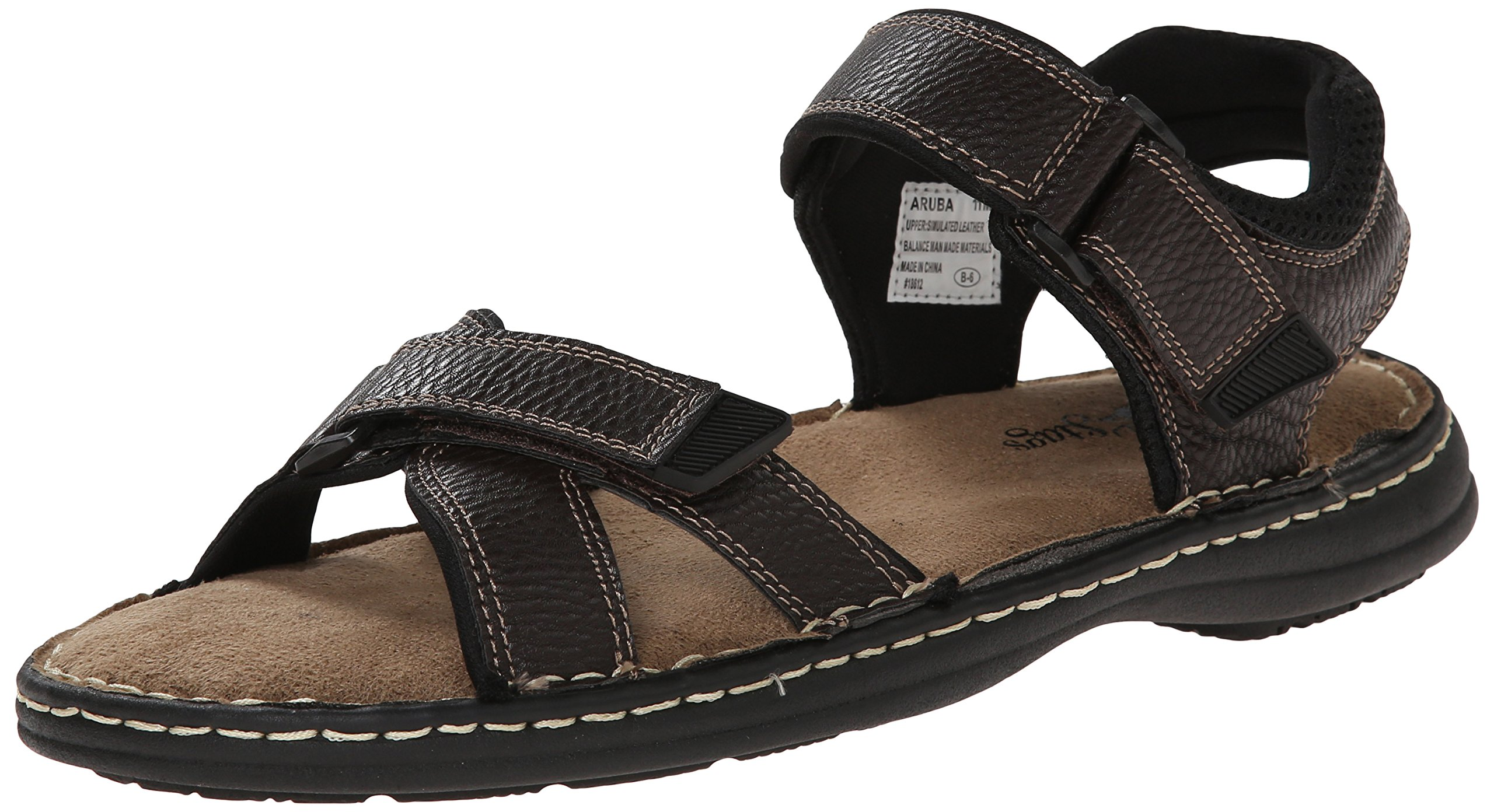 Deer Stags Men's Aruba Fisherman Sandal, Dark Brown, 13 M US