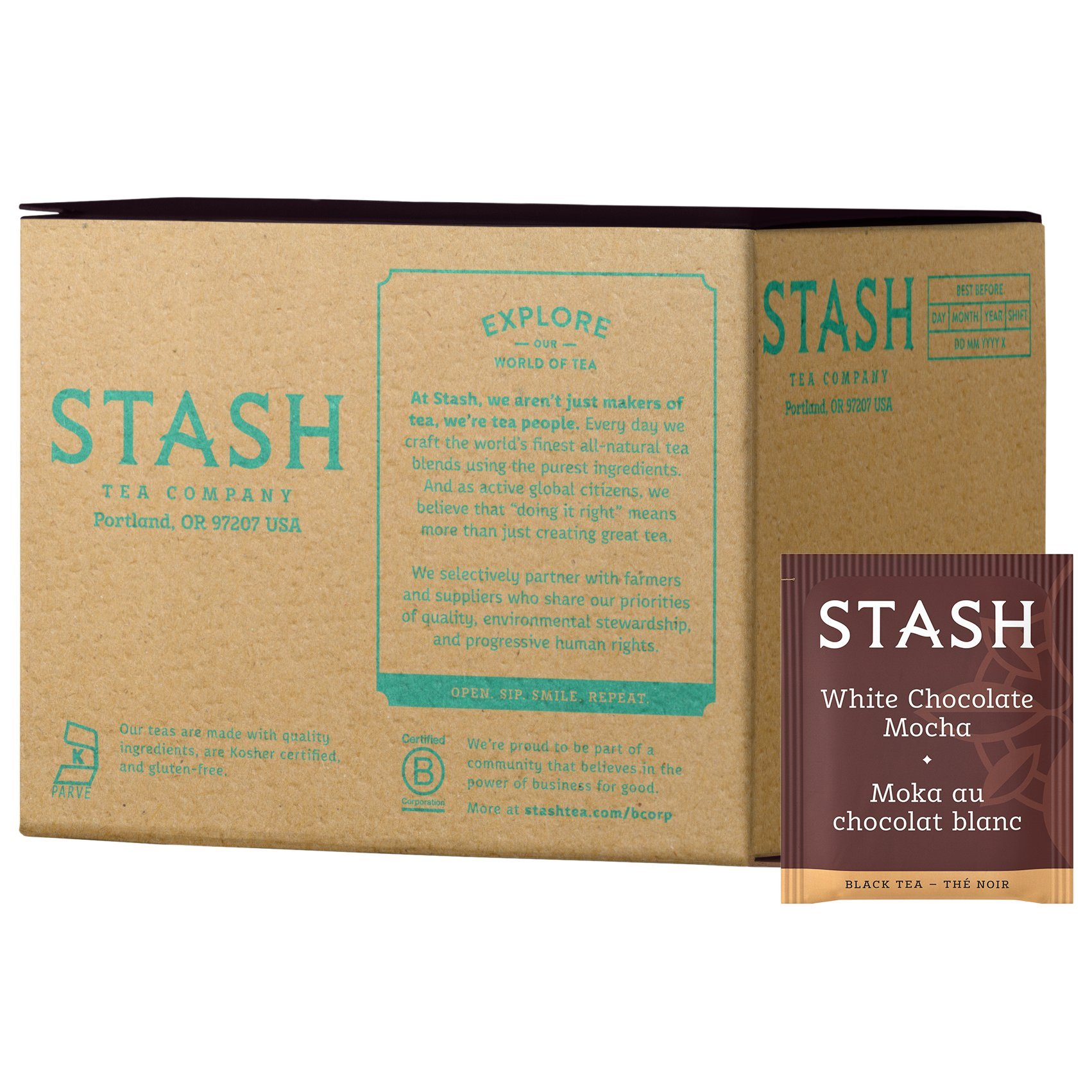 Stash Tea White Chocolate Mocha 100 Count (packaging may vary) Individual White Tea Bags for Use in Teapots Mugs or Cups, Brew Hot Tea or Iced Tea by Stash Tea