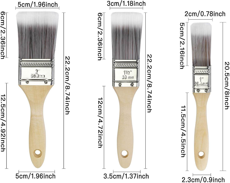 Parfait pour Meubles und Mural Kit de Plat Pinceaux,Pinceaux de Peinture avec Manche en Bois utilisation avec Peinture Acrylique,Vernis,Mural Peintures 3pack