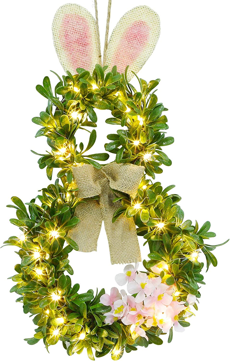 Twinkle Star 19 Inch Pre-lit Easter Bunny Wreath, Lighted Boxwood Wreath Spring Front Door Wreath Greenery Garland with 40 LED Warm White Copper Light & Timer, for Home Wall Hanging Spring Decor