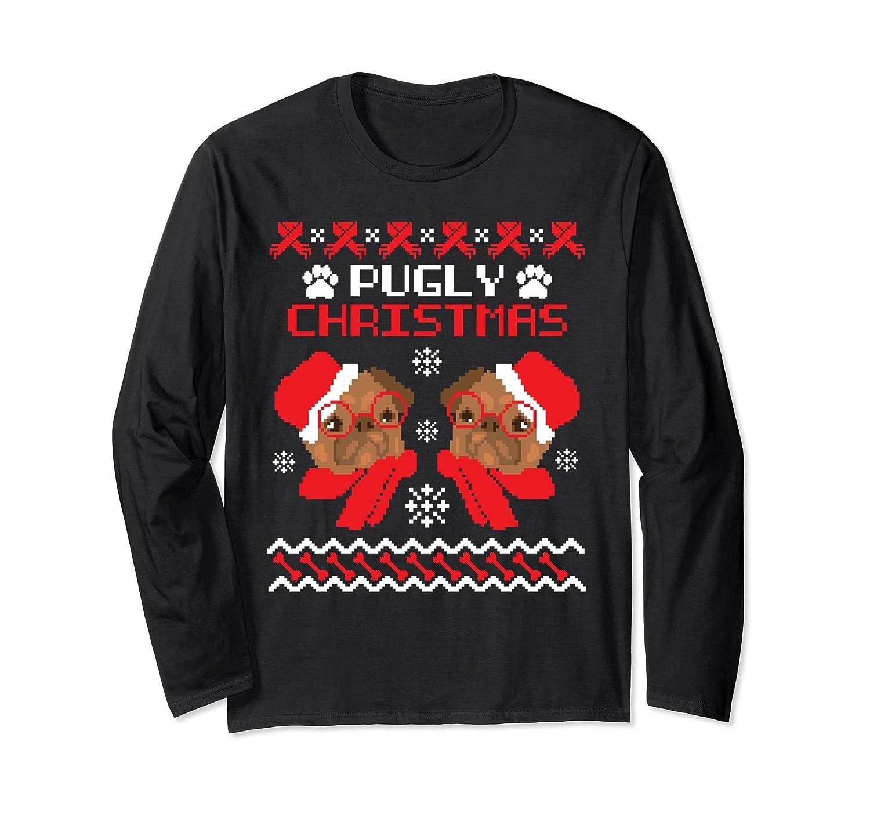 Amazon.com: Funny Pugly Ugly Christmas Sweater Pug Puns Shirt Gifts ...