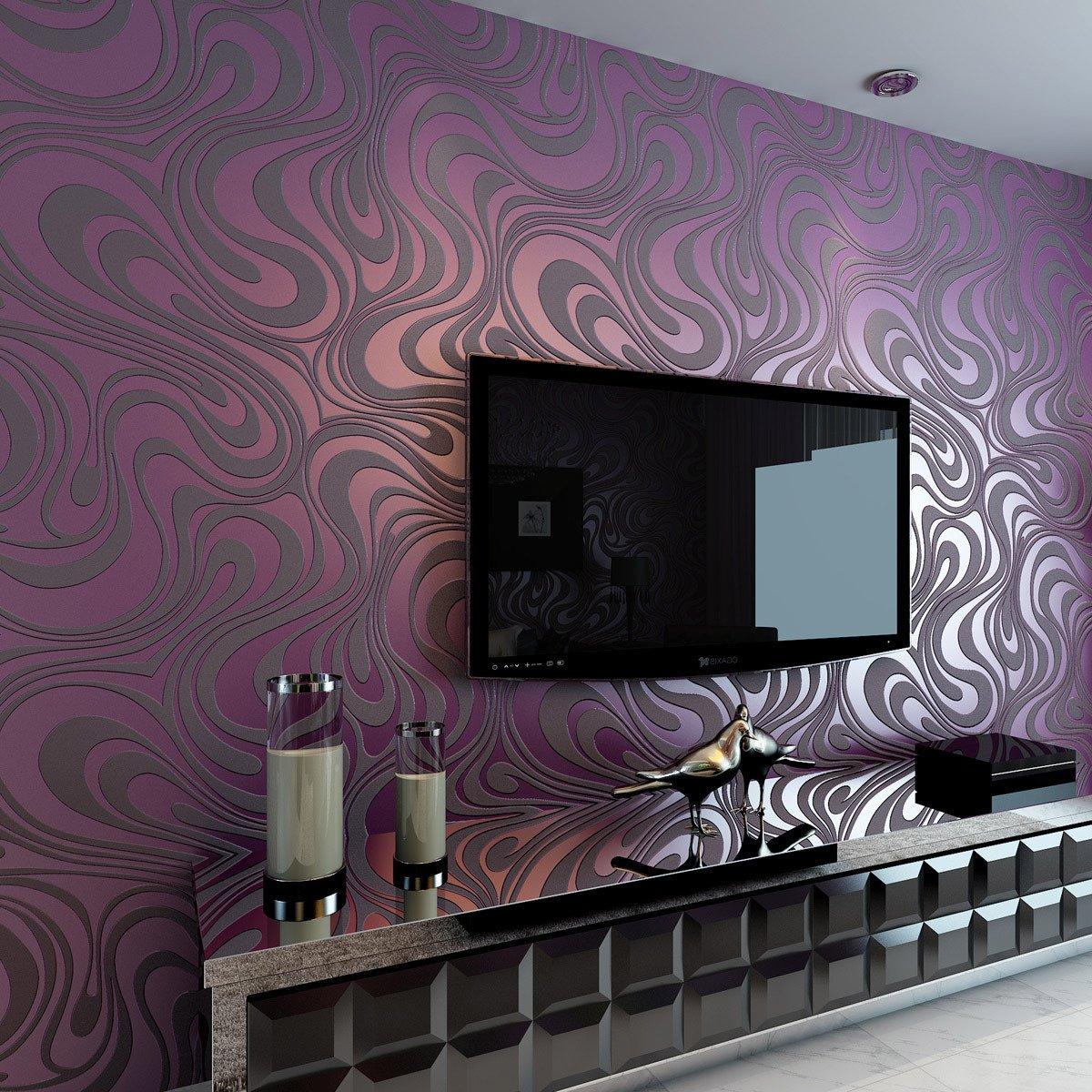 Amazing Hanmero Modern Minimalist Abstract Curves Glitter Non Woven 3D Wallpaper  For Bedroom Living Room TV Backdrop Purple: Amazon.co.uk: DIY U0026 Tools