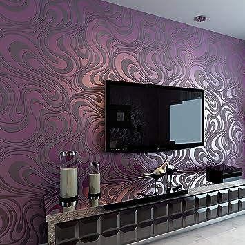 HANMERO Europa reg;Modern Abstrakt Mustertapete Curve Vergolden Wandbild  Beflockung Streifen violette Tapete 8,4m*0,7m für Fernseherhintergrund, ...