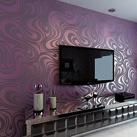 Hanmero Modern Minimalist Abstract Curves Glitter Non Woven 3D Wallpaper For Bedroom Living Room TV
