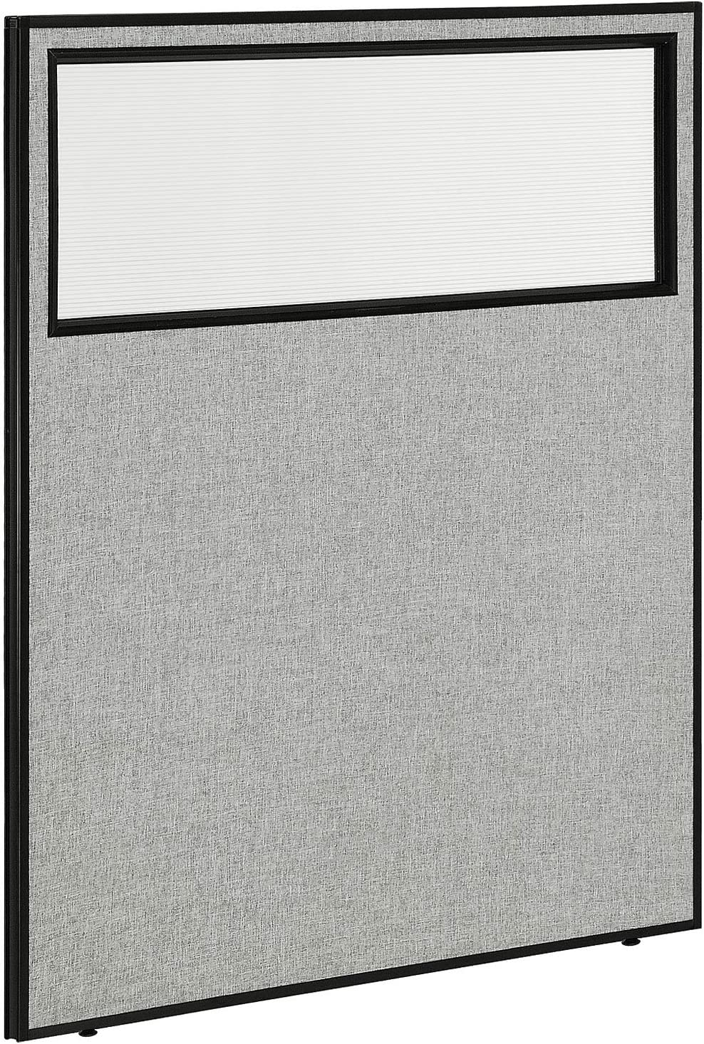 "Global Industrial 48-1/4""W x 60"" H Office Partition Panel with Partial Window, Gray"