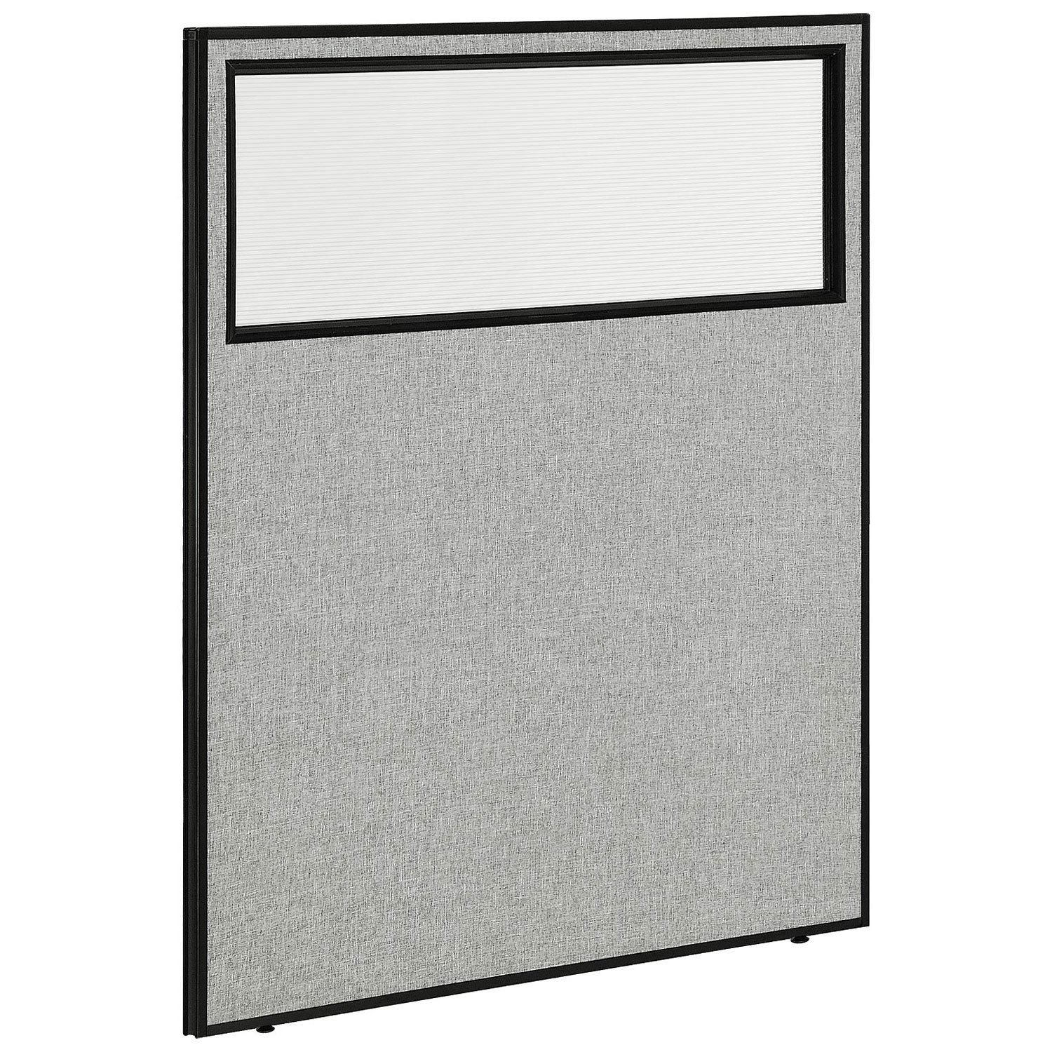 48-1/4''W x 60''H Office Partition Panel with Partial Window, Gray