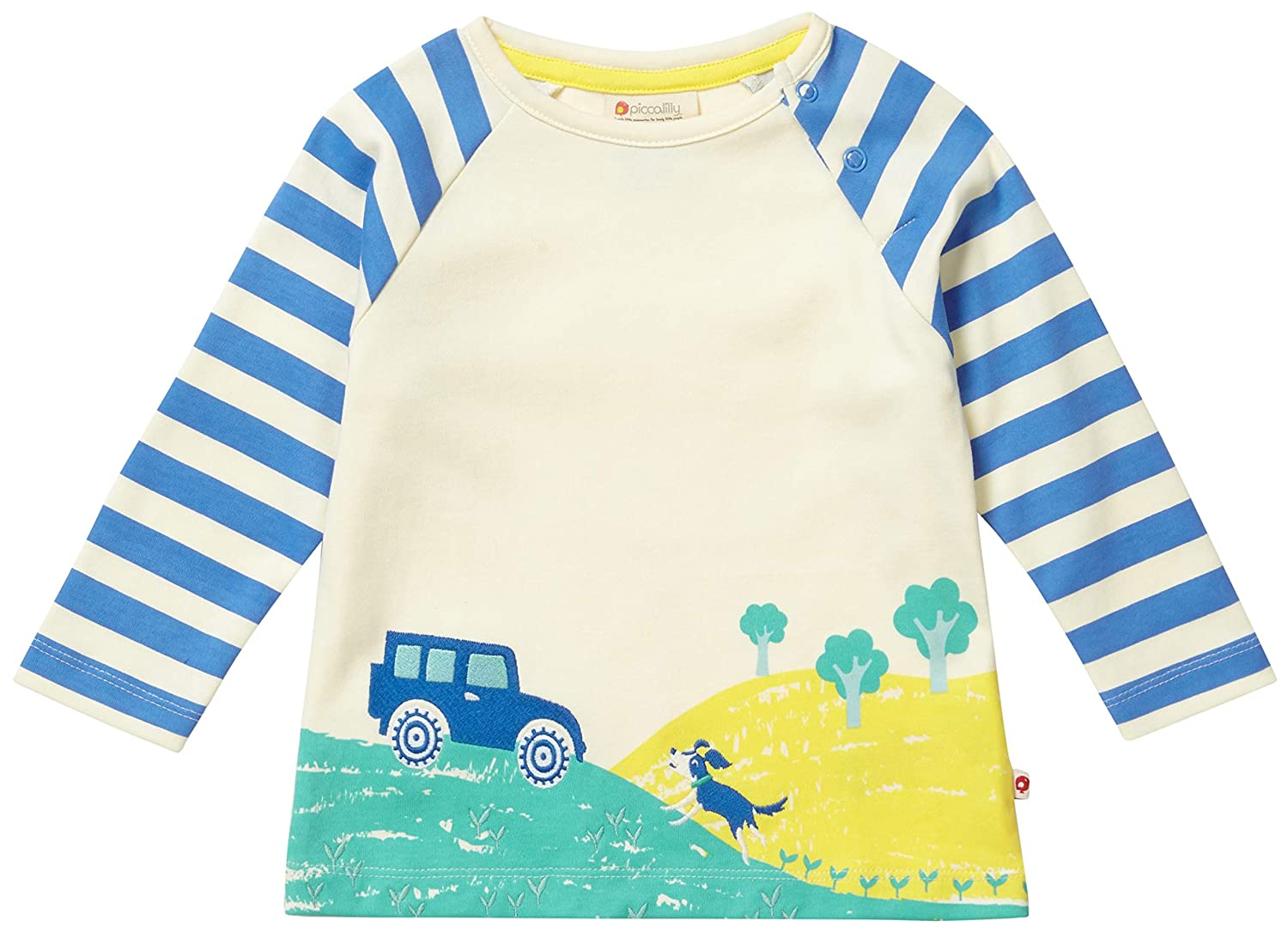 Piccalilly Unisex Childrens Long Sleeve Top Organic Cotton Tiger Face for Boys /& Girls