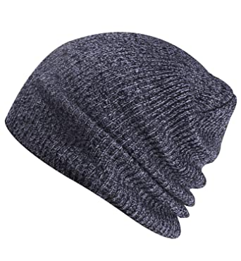 f8acec6ffbf Paladoo Slouchy Winter Hats Knitted Beanie Caps Soft Warm Ski Hat Grey  White  Amazon.co.uk  Clothing