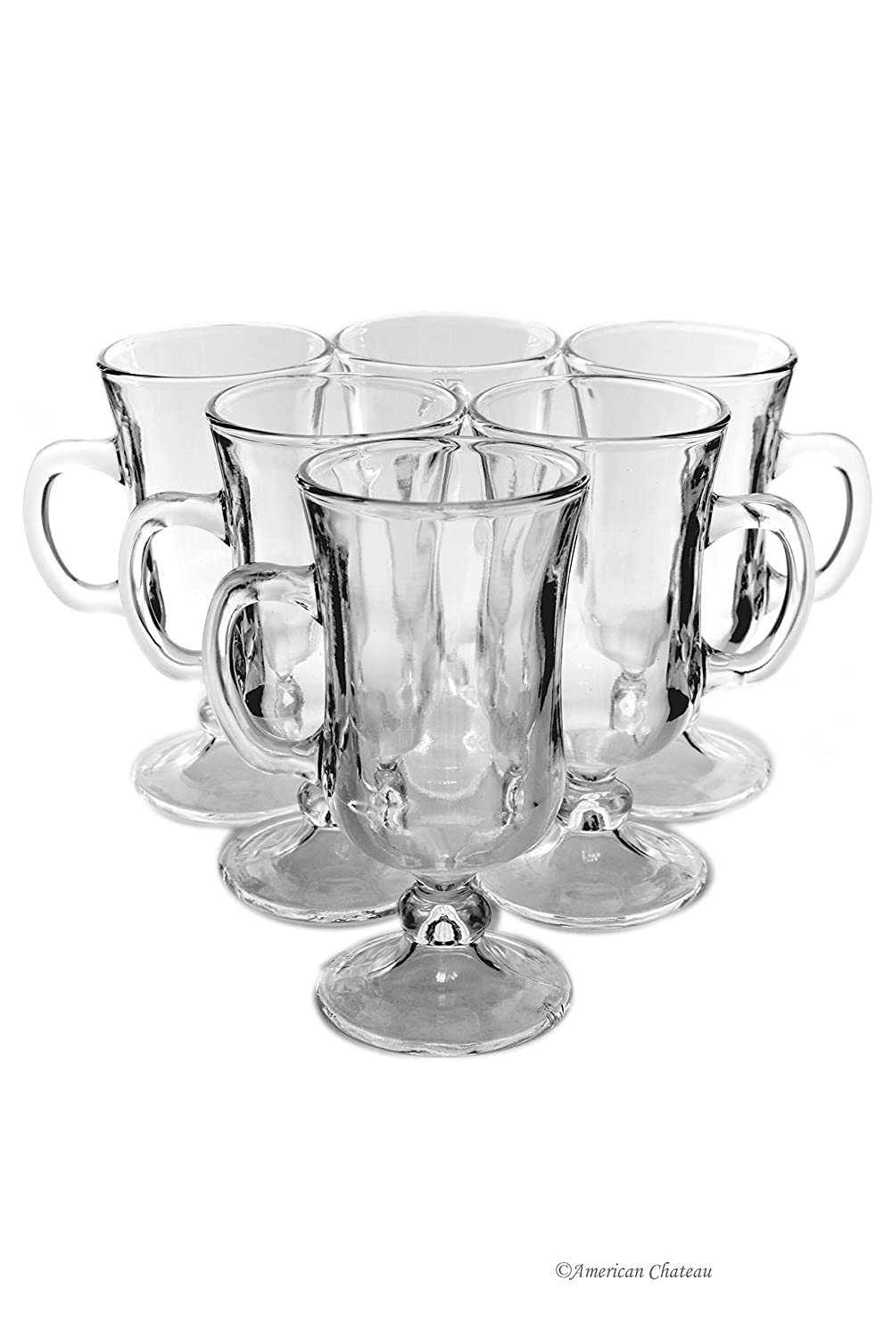 Set 6 Footed Clear Small 4.5oz Specialty Coffee Espresso Turkish Tea Glasses American Chateau