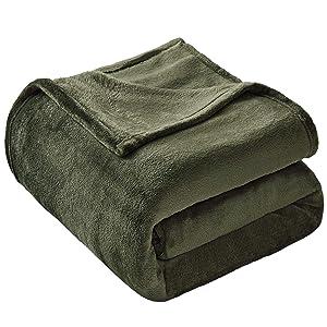 VEEYOO Fleece Blanket Queen Size - Ultra Soft Warm Plush Blanket All Seasons Lightweight Bed Throw Blanket 90 x 90 Inches, Olive Green