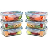 Glass Meal Prep Containers for Food Storage and Prep w/ Snap Locking Lids Airtight & Leak Proof - BPA Free - Oven, Dishwasher, Microwave, Freezer Safe - Odor and Stain Resistant