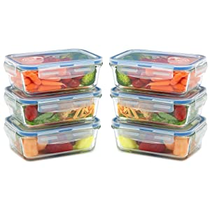 Glass Meal Prep Containers for Food Storage and Prep w/Snap Locking Lids Airtight & Leak Proof - BPA Free - Oven, Dishwasher, Microwave, Freezer Safe - Odor and Stain Resistant