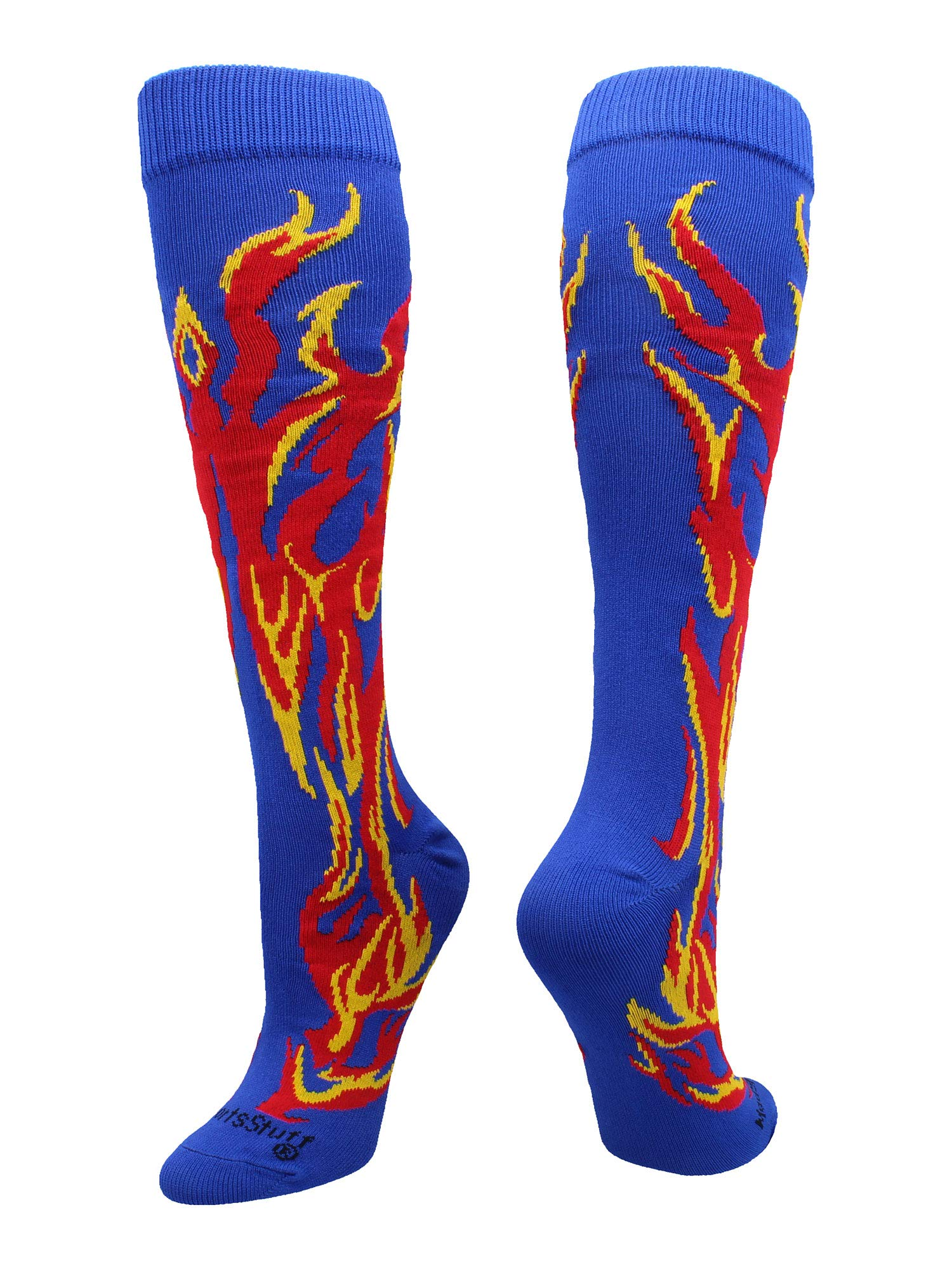 MadSportsStuff Flame Socks Athletic Over the Calf Socks (Royal/Red/Gold, Medium)