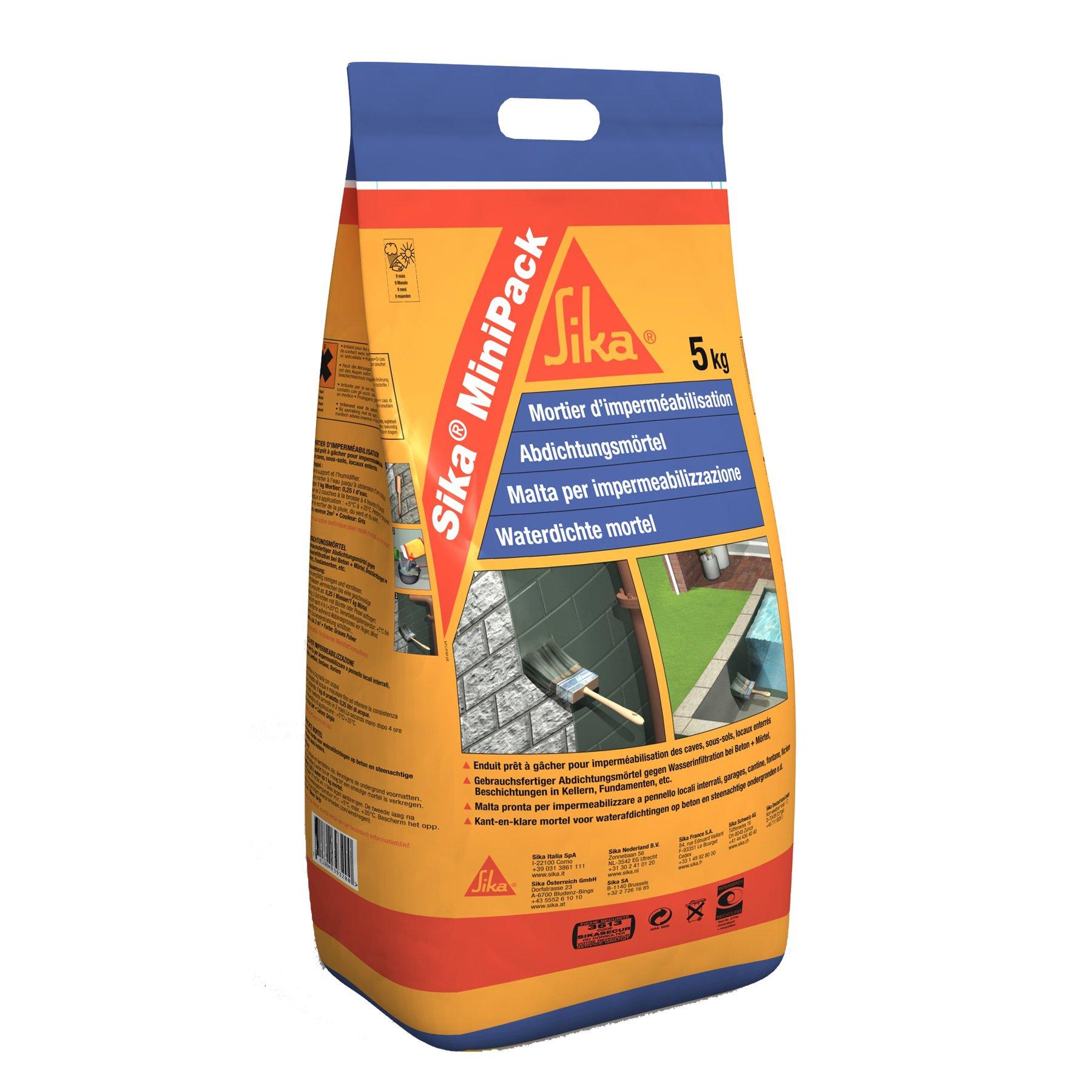 Sika MiniPack Mortero Impermeabilizante, para la impermeabilización de sótanos, cimentaciones y muros enterrados, Gris, 5 kg product image