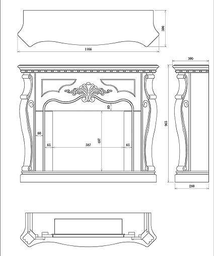 Tagu FM462-WH1 Marco decorativo de madera Larsen White para chimenea el/éctrica empotrada Dimensiones LxAxA 110x24,9x94,9 cm