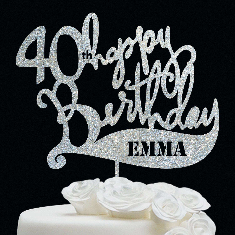 BIRTHDAY CAKE TOPPER//Anniversary Birthday Topper - Customize Cake Topper - Personalized 40 Birthday Cake Topper - Happy Birthday Cake