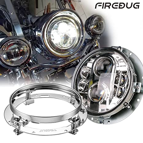 Firebug 1 Pc 7 Inch Chrome Harley Daymaker Led Headlight, 7 In Round Led  Headlight Housing, Harley Mounting Brackets, Jeep Headlight Mounting Ring