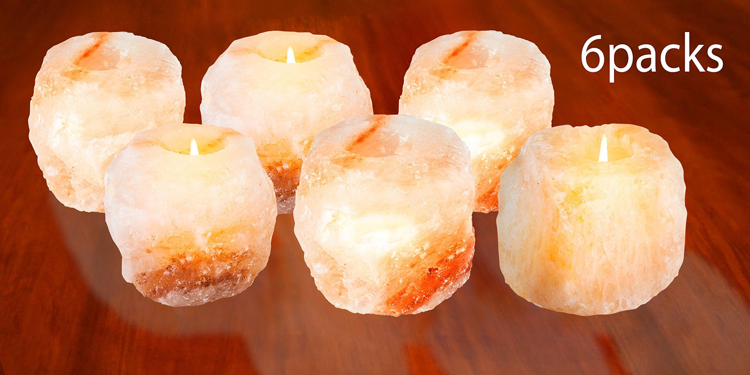 Mockins 6 Pack Natural Himalayan Salt 2.5-lbs Tea Light Holder … by Mockins (Image #5)