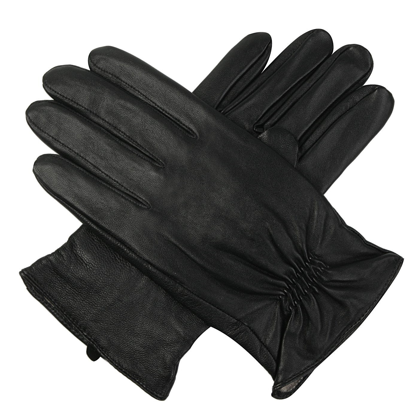 Luxury Lane Men's Cashmere Lined Lambskin Leather Gloves - Black S