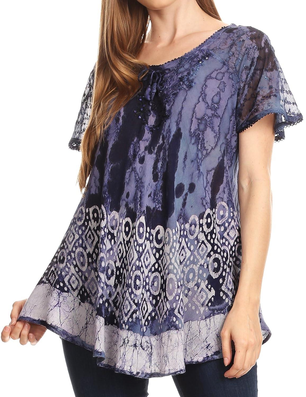 Sakkas Sara Womens Flowy Peasant Short Sleeve Top Blouse Tie-dye Batik Embroidery