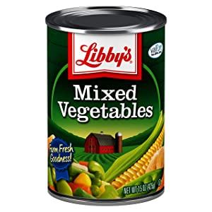 Libby's Mixed Vegetables | Colorful Medley of Farm Fresh Favorites | Carrots, Potatoes, Peas, Corn, Green Beans, Celery, Lima Beans | Grown & Made in USA | 15.00 ounce can (Pack of 12)