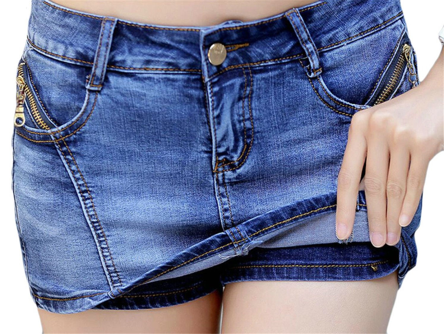 Generic Womens High Waist Luscious Curvy Stretch Denim Bootcut Skirt/Shorts 1 XL