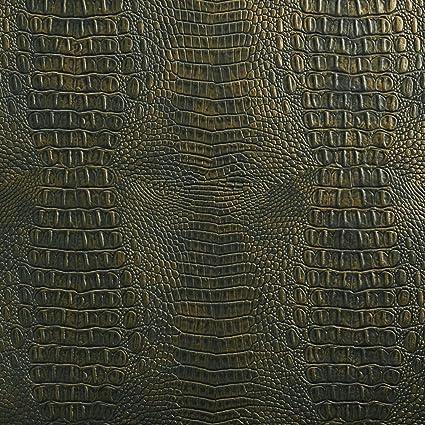 Amazon Com G284 Metallic Green Gold Embossed Alligator Upholstery
