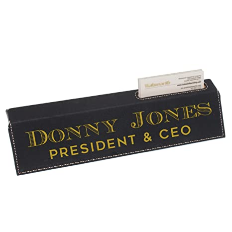 Amazon custom engraved desk name plate personalized desk custom engraved desk name plate personalized desk wedge with business card holder black with colourmoves