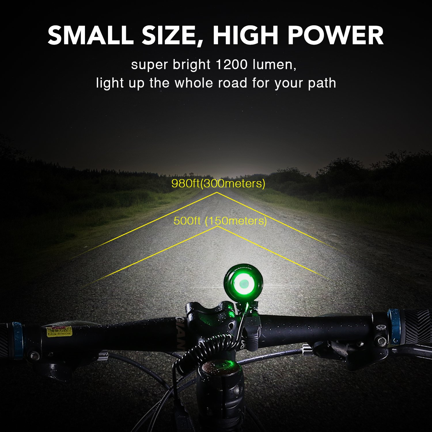 MOGZZi LED Bike Lights Set USB Rechargeable Bicycle Lights Bright Front 1200 Lumen LED Head Torch Headlamp Waterproof with Battery Pack and Free Safety Taillight Included