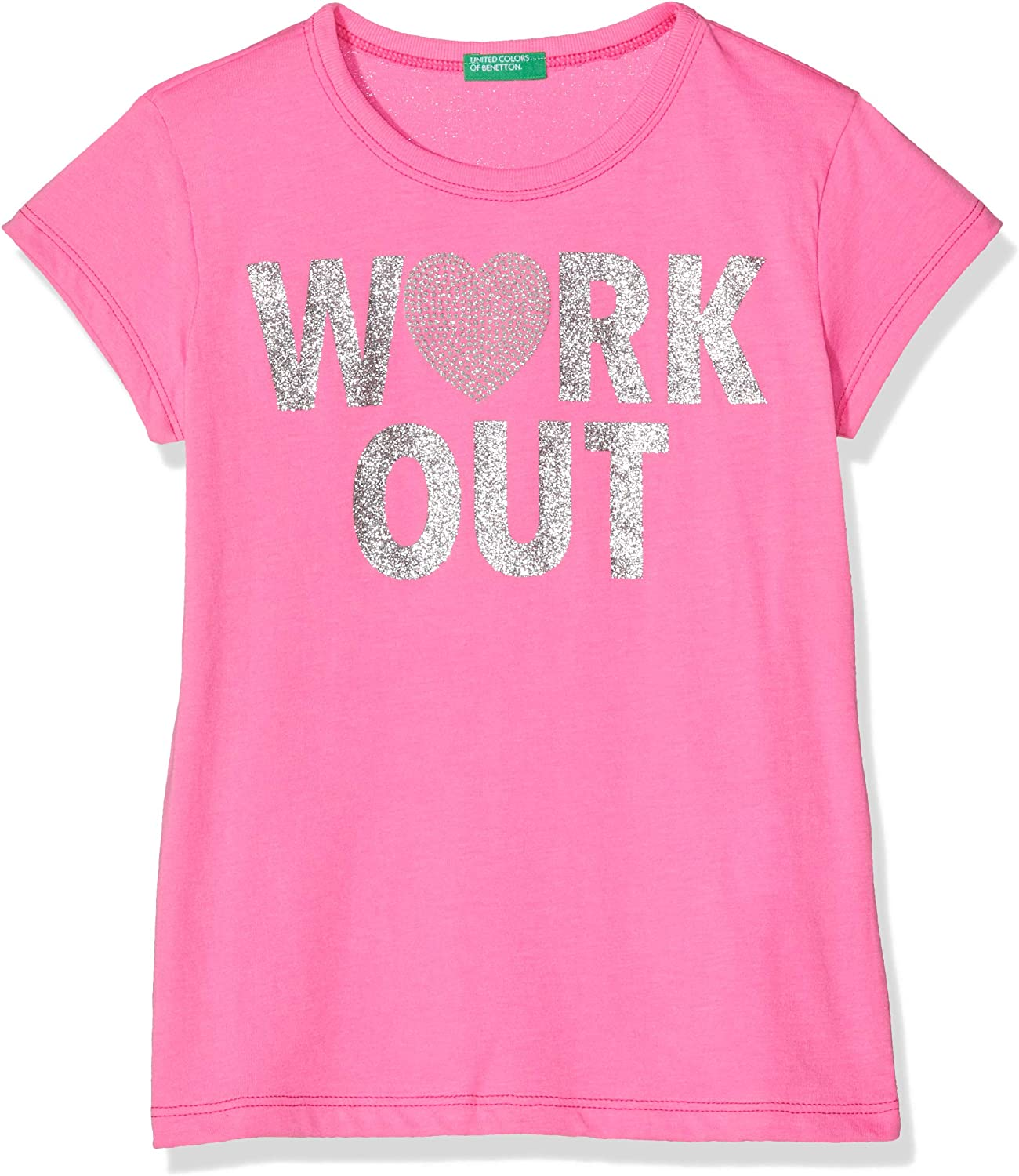 United Colors of Benetton M/ädchen T-s M//C Stampa Glitter Work Out Pullunder