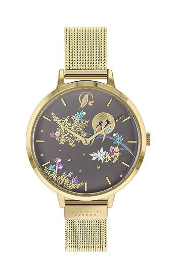 Sara Miller Chelsea Collection SA4014 Reloj con Correa de Malla chapada en Oro: Amazon.es: Relojes