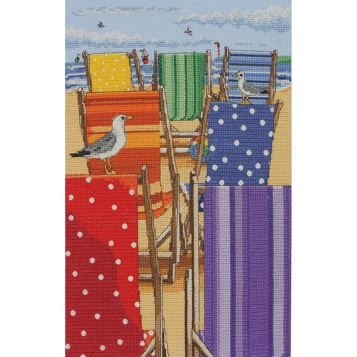 Rainbow Deck Chairs Counted Cross Stitch Kit-11.8x7.9 16 Count