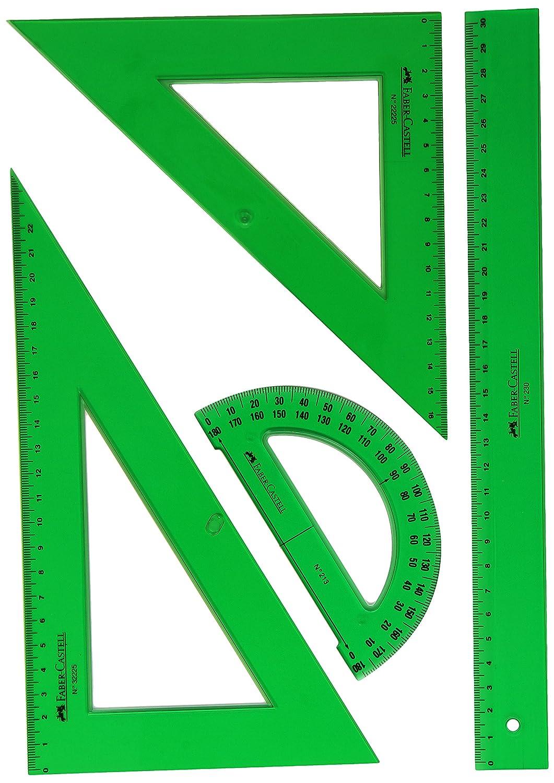 Vuelta al cole, Estuche con regla, escuadra, cartabón y semicírculo Faber-Castell por solo 5,44€