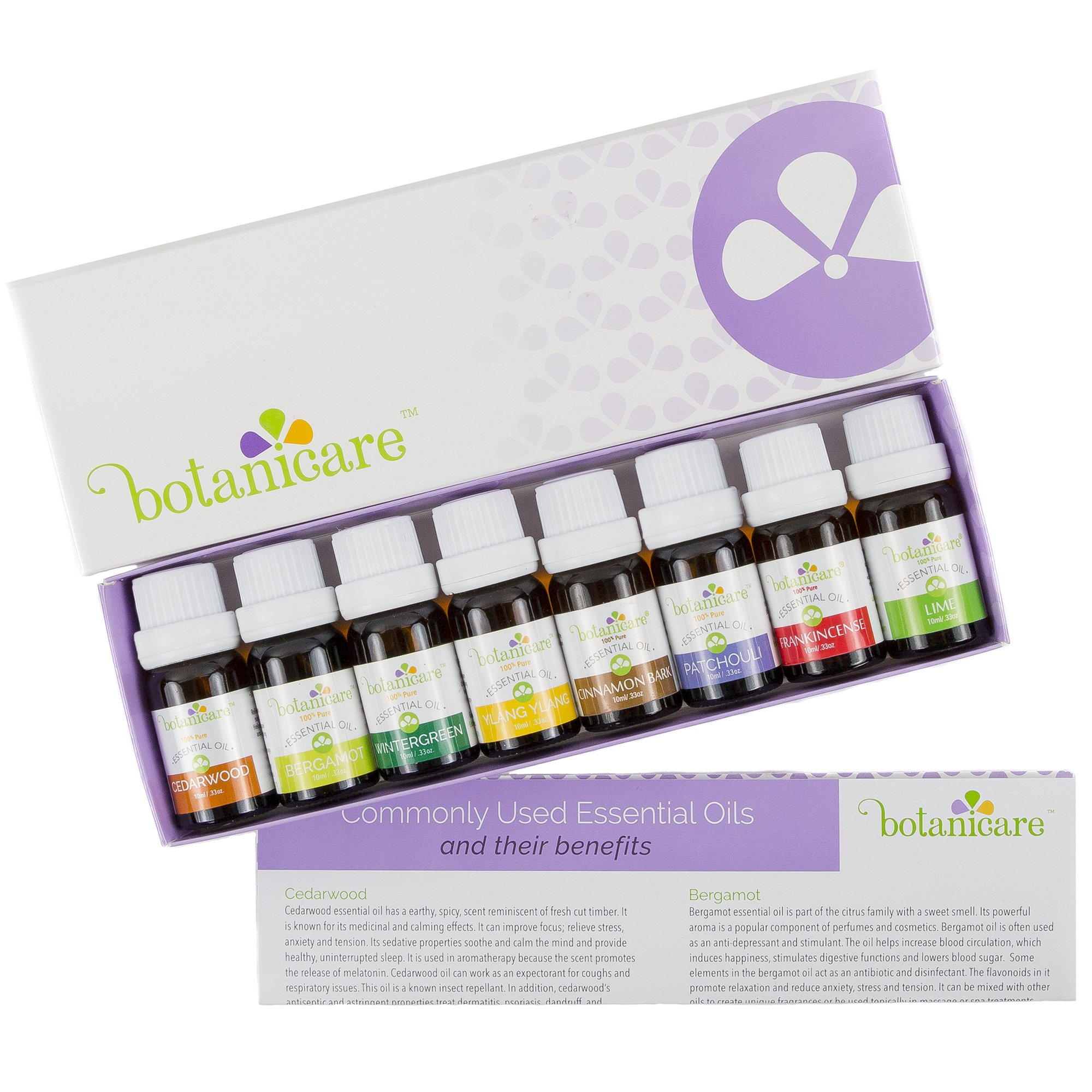 Essential Oils Aromatherapy Kit, 8 10ml bottles Great for Aromatherapy Diffuser Oil, Diffuser Bracelet, or making Bath Bombs. Perfect Gift Set Cedarwood, Rosewood, Wintergreen, Bergamot, Ylang Ylang.